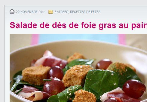 Salade de dés de foie gras au pain d'épices  Ma p'tite cuisine - Google Chrome_2011-12-17_21-13-20