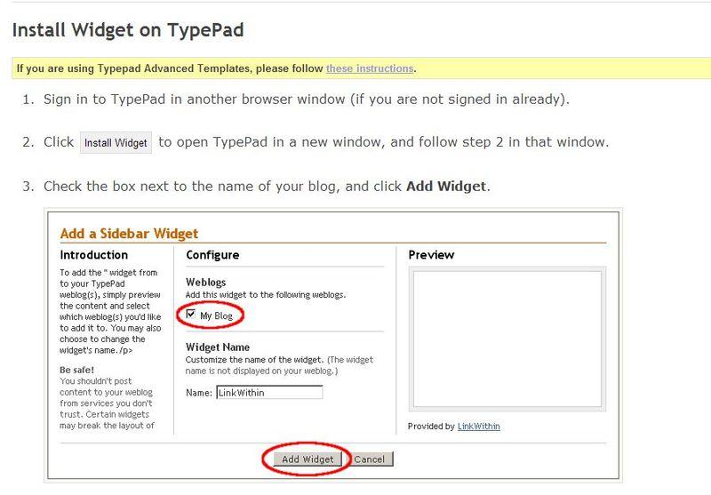 LinkWithin - Install Widget on TypePad -
